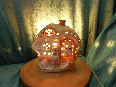 Vintage Piggery Pottery Night Light Lamp - Ratty's Cottage Signed & Dated 1989