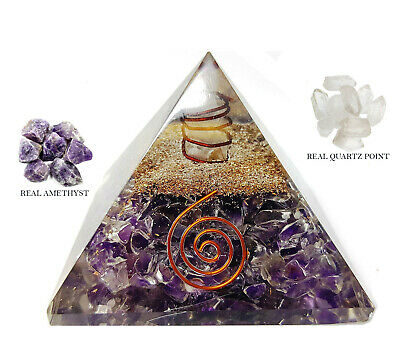 Extra Large Natural Amethyst Orgone Crystal Pyramid XL 70-75mm