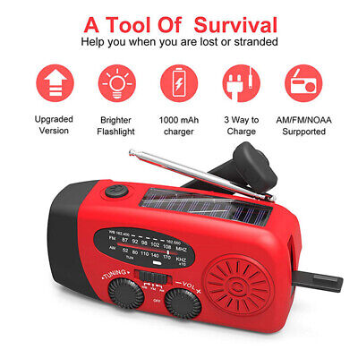 Dynamo Wind Up Hand Crank Solar Powered & USB Rechargeable Portable AM FM Radio