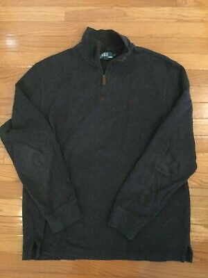 Polo Ralph Lauren Men's Cotton Large L Gray Pullover Half-Zip Mockneck Preowned