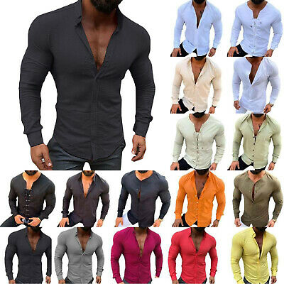 Mens Slim Fit Muscle Shirts Long Sleeve Casual Henley T-shirt Tops Blouse Formal