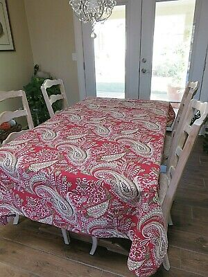 "Vintage Christmas Tablecloth Thick Cotton Paisley Rectangular 78"" x 58"""