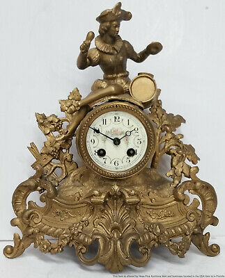 Antique French Signed RM Gilt Spelter Musician Figural Mantle Clock