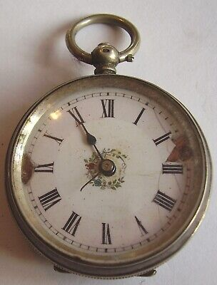 Antique Silver Pocket Watch Pretty Ladies Fob Watch Working 4 Small Repair 1890