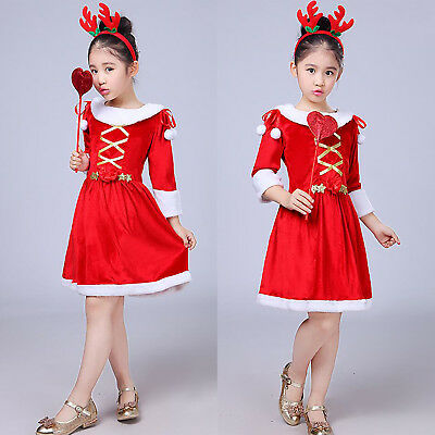 Kids Girls Christmas Costume Dress Outfits Headband Magic Wand Xmas Party Outfit