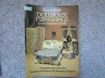 DOLLHOUSE FURNISHINGS for Bed & Bath~44 miniature projects~instructions~Stadtman
