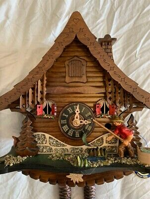 Unique Black Forest Cuckoo Clock NEVER BEEN USED or HUNG Detailed Fishing Scene