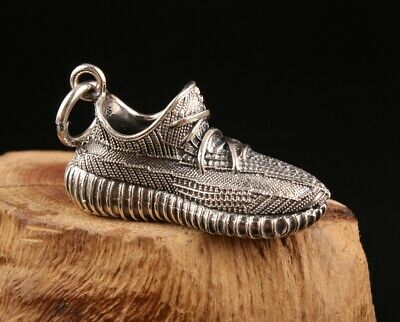 Precious Chinese 925 Silver Pendant Statue Shoes Hand-Made Mascot Decoration