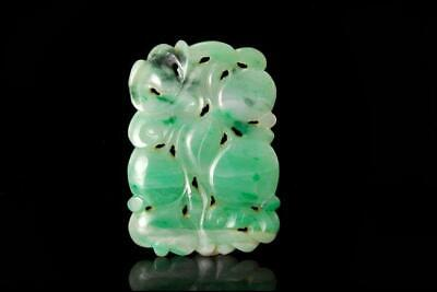 Antique Chinese Carved Apple Green Jadeite Jade Fruit Amulet Pendant D119-07