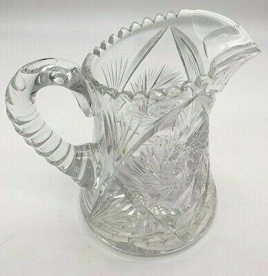 ANTIQUE Large Heavy CUT GLASS CRYSTAL PITCHER DECANTER