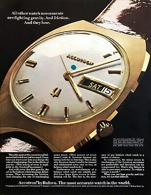 """1969 Bulova Accutron Day and Date """"M"""" 14K Gold Watch photo vintage print ad"""