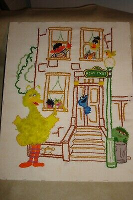 Vintage Stretched 16 x 20 Sesame Street Front Porch Needlepoint
