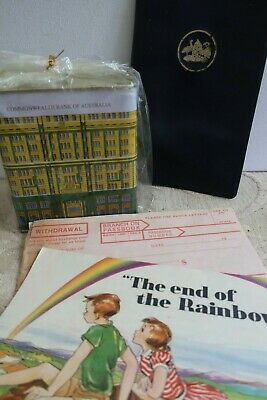 vintage COMMONWEALTH BANK Money Box, form & BANK of NEW SOUTH WALES wallet etc