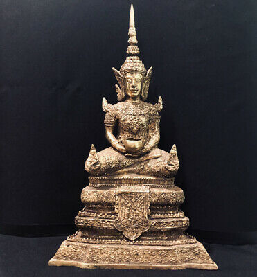 Thailand Gold Gilt Royal Buddha Statue Bronze Museum Quality Unique Relic