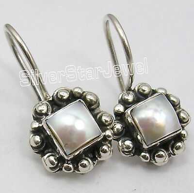 925 Solid Silver SQUARE FRESH WATER PEARL GIRLS' ANTIQUE STYLE Earrings 0.9 Inch