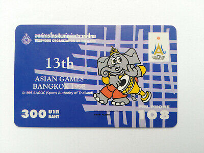Asian Games Bangkok 1998 Collectible Thailand TOT Pin Phone Prepaid card 300 THB