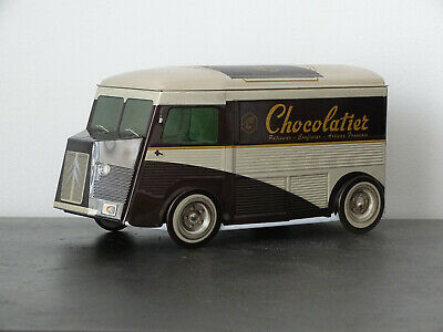 CAMION CITROËN HY H TUBE BOITE A BISCUITS GÂTEAUX 20 CM POLICE