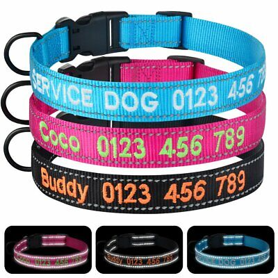 Personalised Embroidered Dog Collar Reflective Pet Puppy ID Tag Name Adjustable