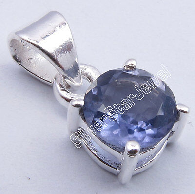 "925 Sterling Silver High End IOLITE 4-Prong NEW Pendant 0.6"" INDIAN JEWELLERS"