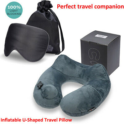 U-Shaped Neck Pillow, Comfortable & Breathable Cover, with 3D Contoured Eye Mask
