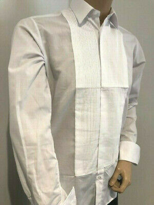 "Men's White Pleated Rocola Dress Shirt Formal Wedding Tuxedo 14.5 X 37"" X-Small"