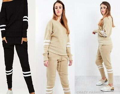 New Women Ladies Long Sleeve Stripe Detail Knitted Tracksuit Uk 8-14