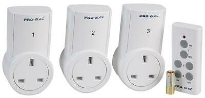 BRANDED 3 Pack Remote Controlled 2400W UK Power Plug Sockets - White (PEL00551)