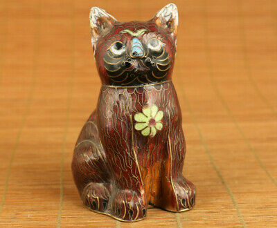Big Fine chinese rare old cloisonne hand painting lovely cat statue collectible