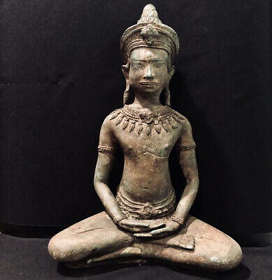 Antique Thailand Khmer Cambodia Bronze Buddha Statue Sculpture Meditation 325 mm