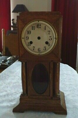 Empty Antique Oak (Longcase Style) Mantel Clock Case, Spares/Repair