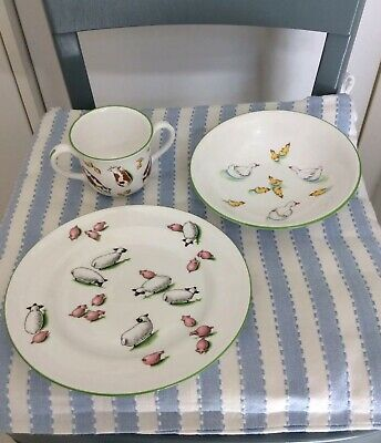 Tiffany & Co Kindergeschirr Teller Kinderteller Schafe Fine Bone China Porzellan