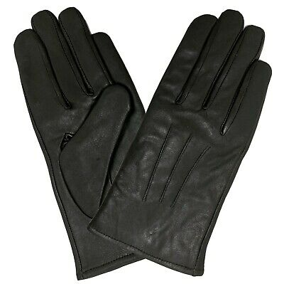 Ladies Women Soft Real 100% Leather Gloves Black Premium Fibre Lining Winter