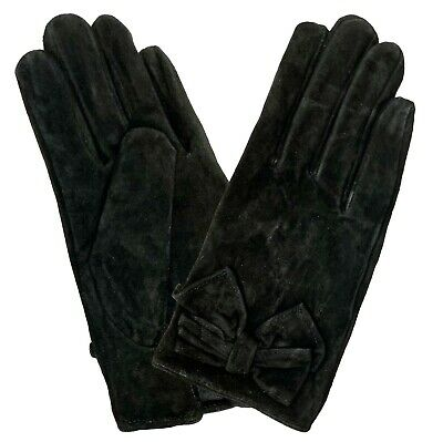 Ladies Women Soft Real 100% Suede Leather Gloves Black Premium Fibre Lining