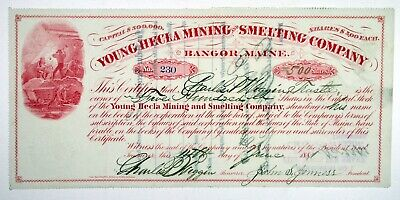 ME. Young Hecla Mining & Smelting Co. 1881 I/C Stock Certificate 500 Shares VF+
