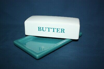 Mainstays Butter Dish Turquoise with White Cover Rectangle