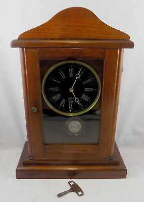 'Cottage' Style Black Dial Mantel Clock In Mahogany Case - Fully Working