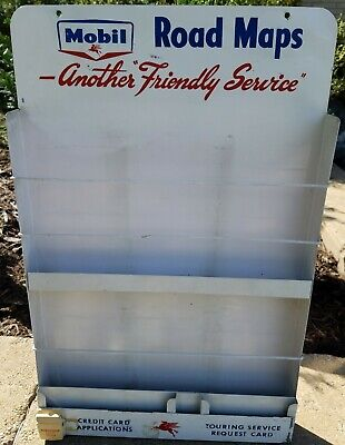 GUARANTEED ORIGINAL 1950's MOBIL GAS STATION ROAD MAPS DISPLAY RACK. EXCELLENT