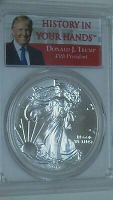 2017 PCGS MS69 First Strike Silver Eagle History in Your Hands Donald J. Trump