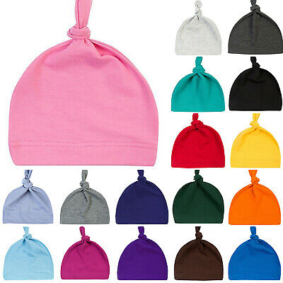 Newborn Baby Boys Girls Top Knot Plain Beanie Hat Cap Soft Cotton Head Wrap Cap