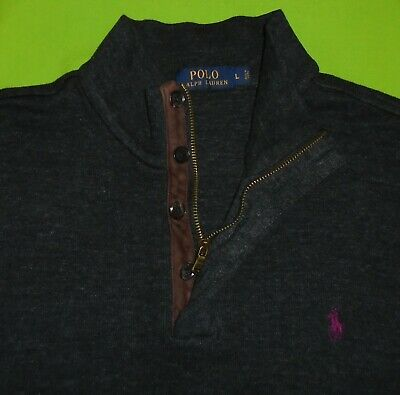 Polo Ralph Lauren Dark Gray 1/4 Zip Sweatshirt Burgundy PONY L/S Men size Large