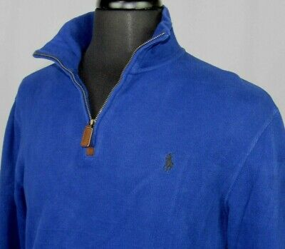 Men's Polo Ralph Lauren 100% Cotton Blue Collared 1/2 Zip Sweater Small