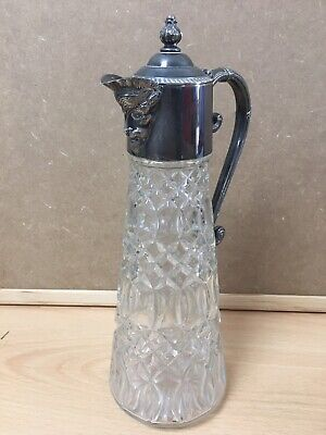Vintage English Glass & EPNS Silver Plate Claret Jug with Bacchus Spout