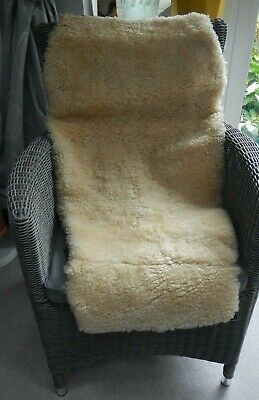 Vintage Genuine Real Natural Soft Sheepskin Rug Chair Throw Fitted Cover