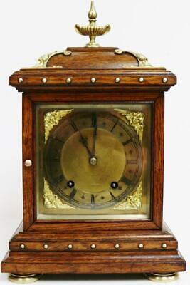 Antique Oak & Brass 8 Day 1/4 Chiming Ting Tang Musical Chime W&H Bracket Clock