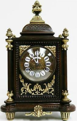 Beautiful Antique French 8 Day Bell Strike 2 Tone Bronze & Ormolu Mantle Clock