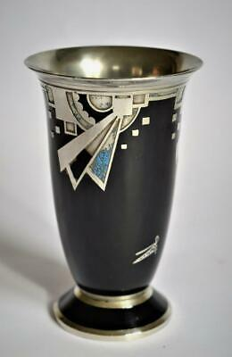 ORIGINAL 1920s FRENCH ART DECO ENAMEL VASE ~ VERY STYLISH FINE QUALITY ~ Signed