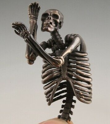 Unique China Old Copper Hand Carved Skeleton Pendant Cool Gift Collection