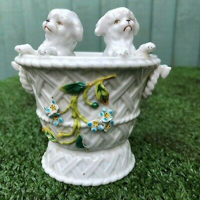 SUPERB 19thC CERAMIC PORCELAIN BASKET VASE WITH PAIR OF DOGS TO THE FRONT c1890s