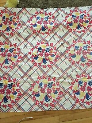 "Vintage Tablecloth Cotton Flowers Fruit Yello Blue Red 1940s 50x62"" Cutter"