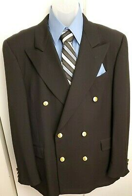 Gieves Hawkes 42R Blazer wool double breasted Suit Jacket dinner gold buttons
